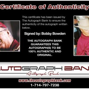 Bobby Bowden certificate of authenticity from the autograph bank