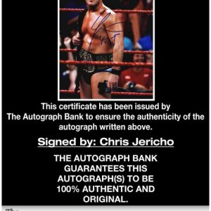 Chris Jericho certificate of authenticity from the autograph bank