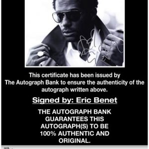 Eric Benet certificate of authenticity from the autograph bank