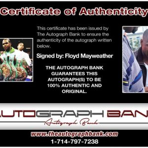 Floyd Mayweather Jr certificate of authenticity from the autograph bank