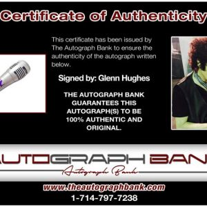 Glenn Hughes certificate of authenticity from the autograph bank