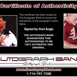 Kurt Angle certificate of authenticity from the autograph bank