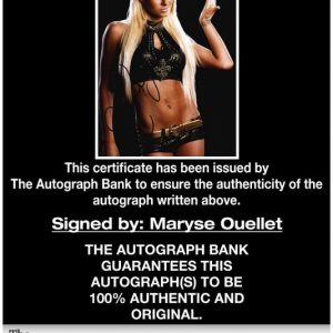 Maryse Ouellet certificate of authenticity from the autograph bank