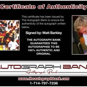 Matt Barkley certificate of authenticity from the autograph bank