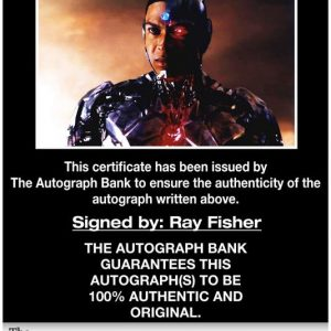Ray Fisher certificate of authenticity from the autograph bank