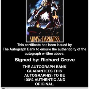 Richard Grove certificate of authenticity from the autograph bank