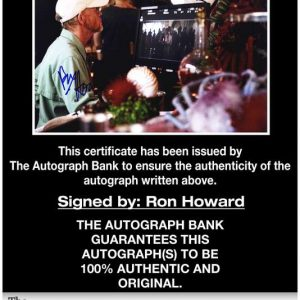 Ron Howard certificate of authenticity from the autograph bank