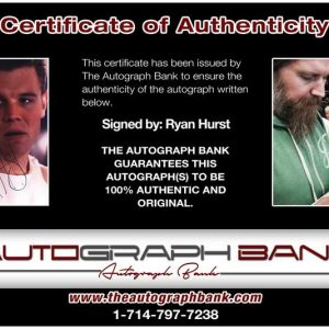 Ryan Hurst certificate of authenticity from the autograph bank