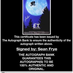 Sean Frye certificate of authenticity from the autograph bank
