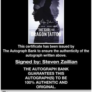 Steven Zaillian certificate of authenticity from the autograph bank