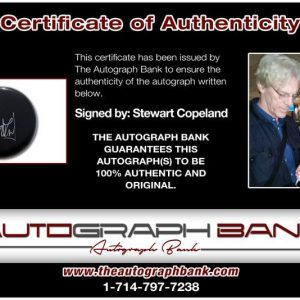 Stewart Copeland certificate of authenticity from the autograph bank