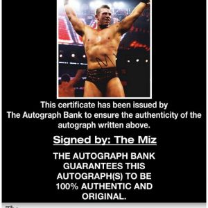 The Miz certificate of authenticity from the autograph bank